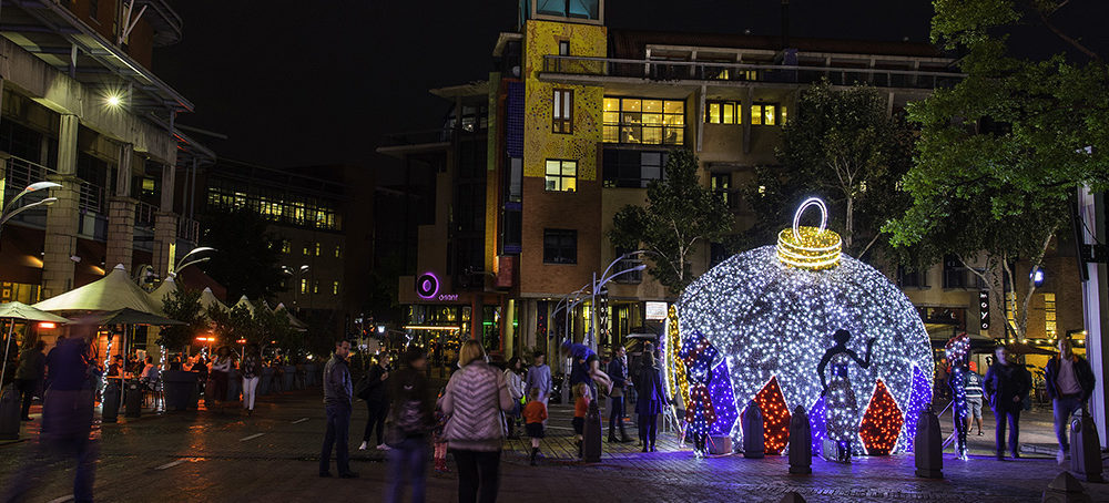 Christmas lights in a smart city